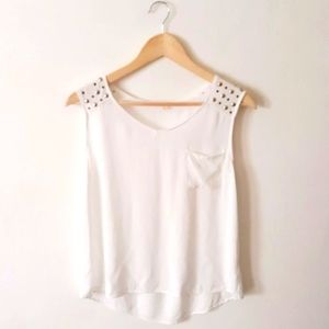 Pearl Embellished White Sleeveless Top Size M